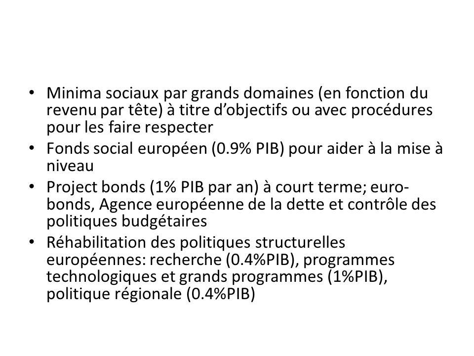 Minima sociaux par grands domaines (en fonction du revenu par tête) à titre dobjectifs ou avec procédures pour les faire respecter Fonds social europé