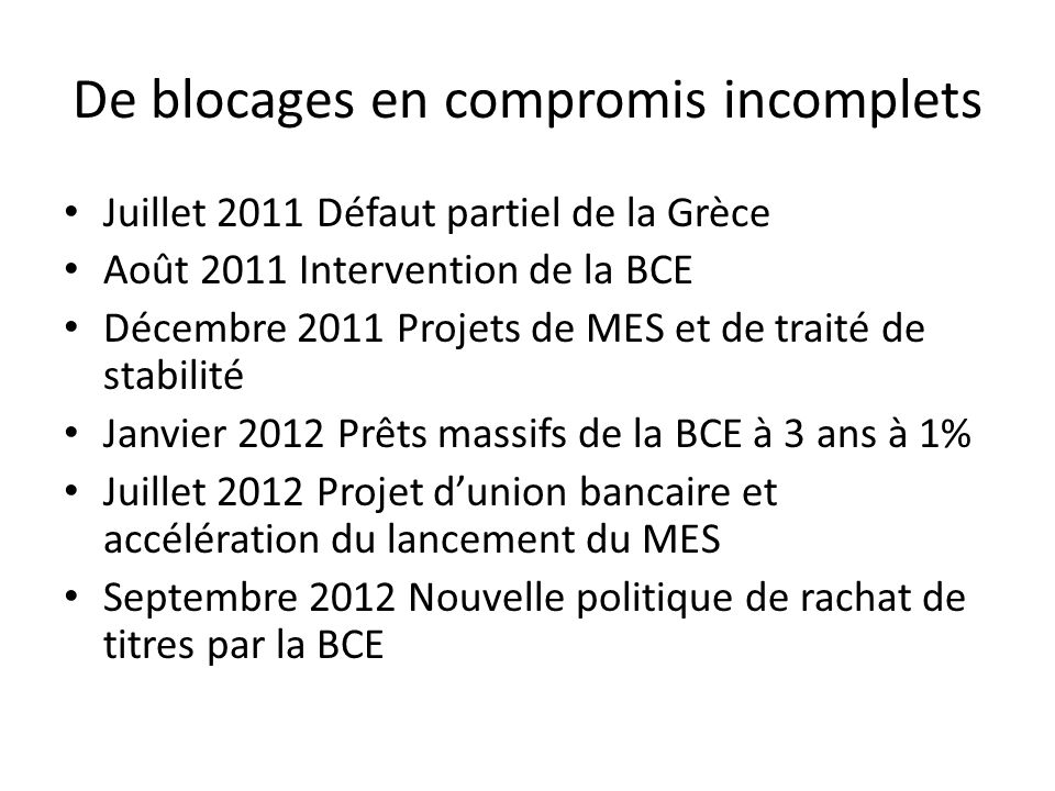 De blocages en compromis incomplets Juillet 2011 Défaut partiel de la Grèce Août 2011 Intervention de la BCE Décembre 2011 Projets de MES et de traité