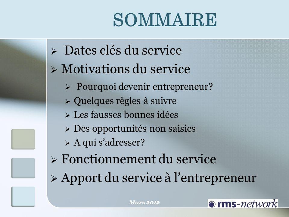 SOMMAIRE Dates clés du service Motivations du service Pourquoi devenir entrepreneur? Quelques règles à suivre Les fausses bonnes idées Des opportunité