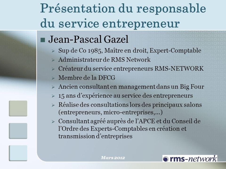 Jean-Pascal Gazel Sup de Co 1985, Maître en droit, Expert-Comptable Administrateur de RMS Network Créateur du service entrepreneurs RMS-NETWORK Membre