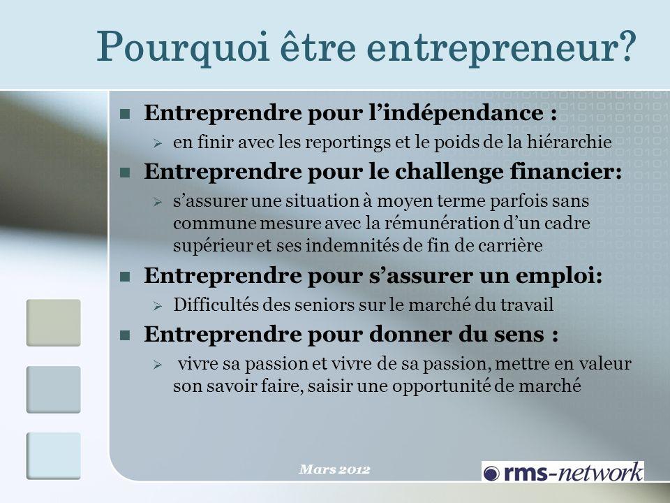 Pourquoi être entrepreneur? Entreprendre pour lindépendance : en finir avec les reportings et le poids de la hiérarchie Entreprendre pour le challenge