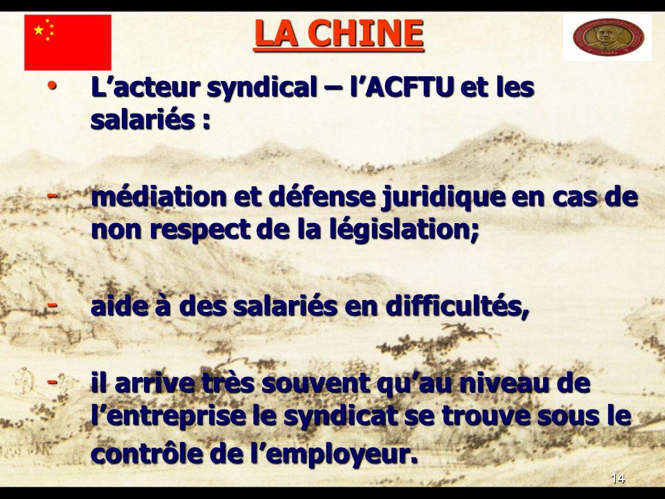 14 LA CHINE Lacteur syndical – lACFTU et les salariés : Lacteur syndical – lACFTU et les salariés : - médiation et défense juridique en cas de non res
