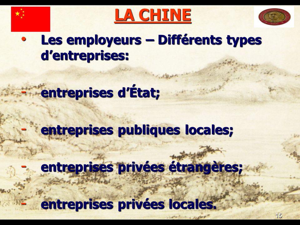 15 LA CHINE Les employeurs – Différents types dentreprises: Les employeurs – Différents types dentreprises: - entreprises dÉtat; - entreprises publiques locales; - entreprises privées étrangères; - entreprises privées locales.
