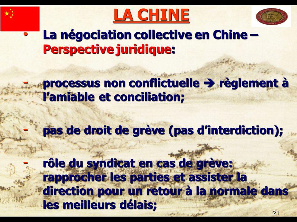 21 LA CHINE La négociation collective en Chine – Perspective juridique: La négociation collective en Chine – Perspective juridique: - processus non co
