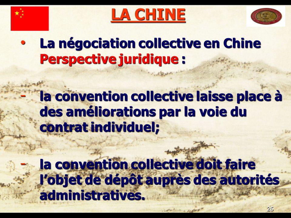 25 LA CHINE La négociation collective en Chine Perspective juridique : La négociation collective en Chine Perspective juridique : - la convention coll