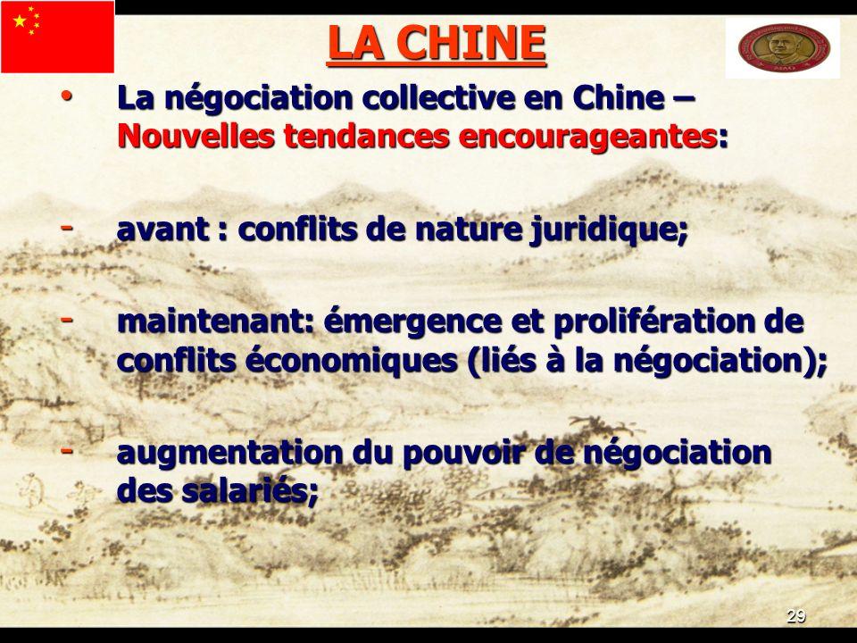 29 LA CHINE La négociation collective en Chine – Nouvelles tendances encourageantes: La négociation collective en Chine – Nouvelles tendances encourag