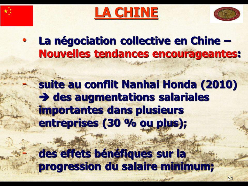 31 LA CHINE La négociation collective en Chine – Nouvelles tendances encourageantes: La négociation collective en Chine – Nouvelles tendances encourag