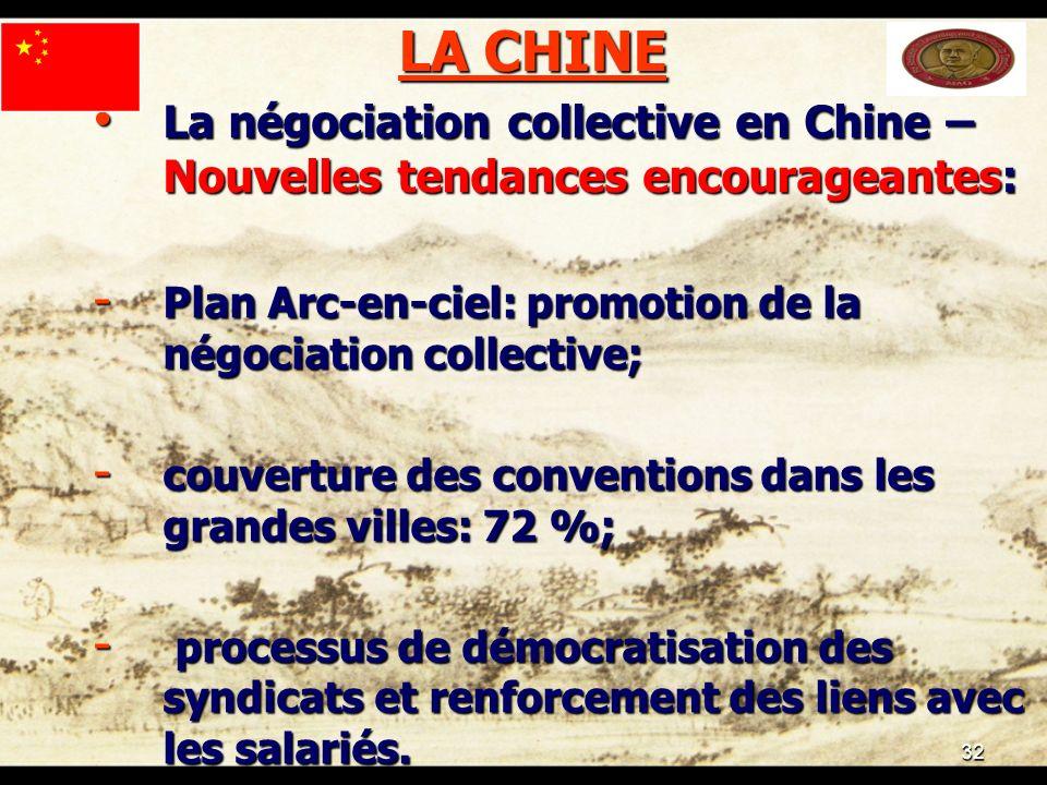 32 LA CHINE La négociation collective en Chine – Nouvelles tendances encourageantes: La négociation collective en Chine – Nouvelles tendances encourag