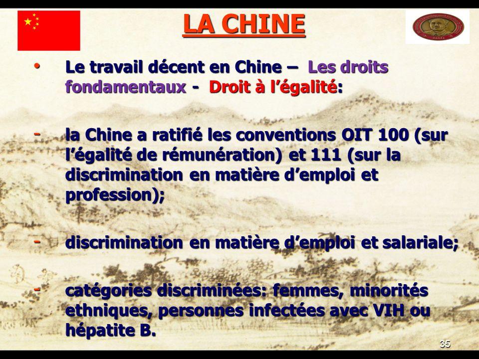 35 LA CHINE Le travail décent en Chine – Les droits fondamentaux - Droit à légalité: Le travail décent en Chine – Les droits fondamentaux - Droit à légalité: - la Chine a ratifié les conventions OIT 100 (sur légalité de rémunération) et 111 (sur la discrimination en matière demploi et profession); - discrimination en matière demploi et salariale; - catégories discriminées: femmes, minorités ethniques, personnes infectées avec VIH ou hépatite B.