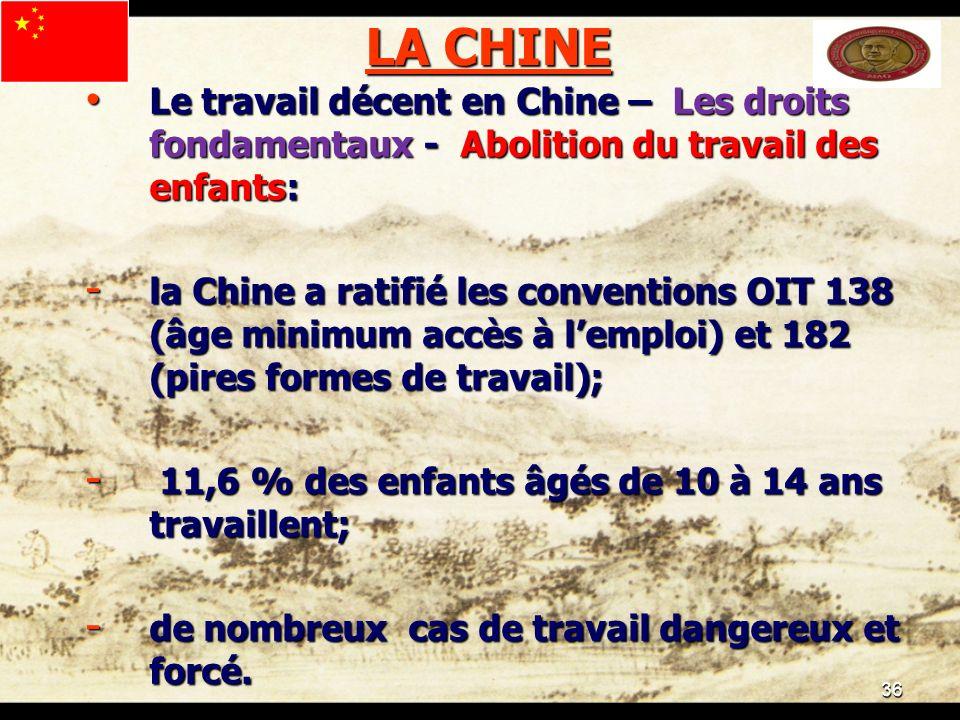 36 LA CHINE Le travail décent en Chine – Les droits fondamentaux - Abolition du travail des enfants: Le travail décent en Chine – Les droits fondamentaux - Abolition du travail des enfants: - la Chine a ratifié les conventions OIT 138 (âge minimum accès à lemploi) et 182 (pires formes de travail); - 11,6 % des enfants âgés de 10 à 14 ans travaillent; - de nombreux cas de travail dangereux et forcé.