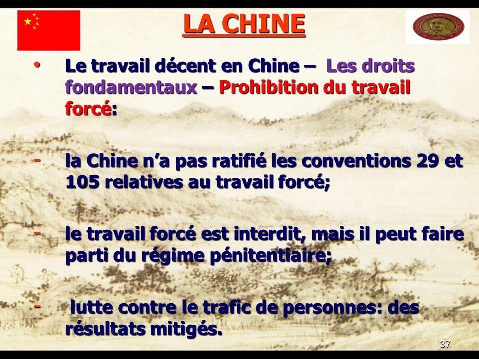 37 LA CHINE Le travail décent en Chine – Les droits fondamentaux – Prohibition du travail forcé: Le travail décent en Chine – Les droits fondamentaux