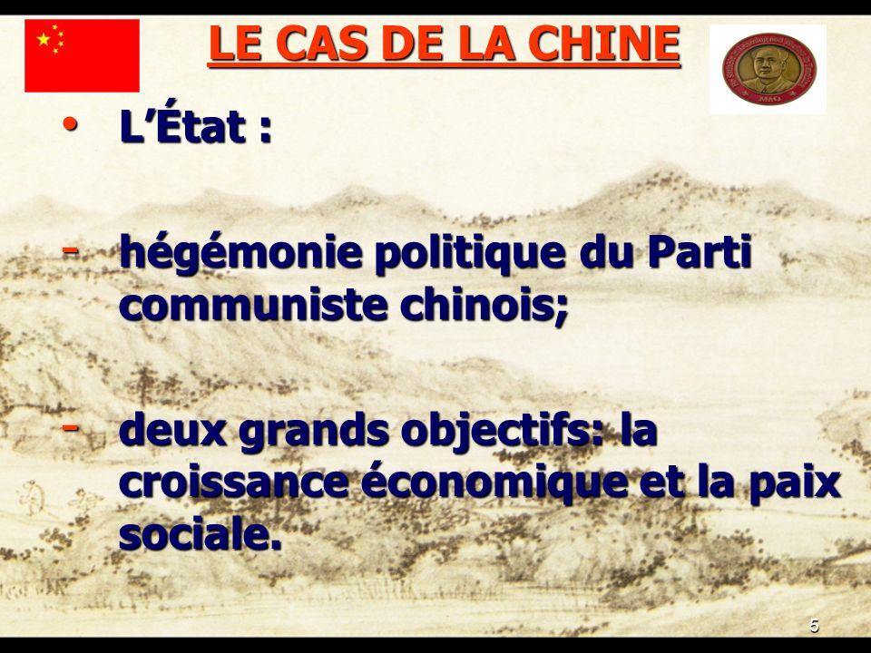 5 LE CAS DE LA CHINE LÉtat : LÉtat : - hégémonie politique du Parti communiste chinois; - deux grands objectifs: la croissance économique et la paix sociale.