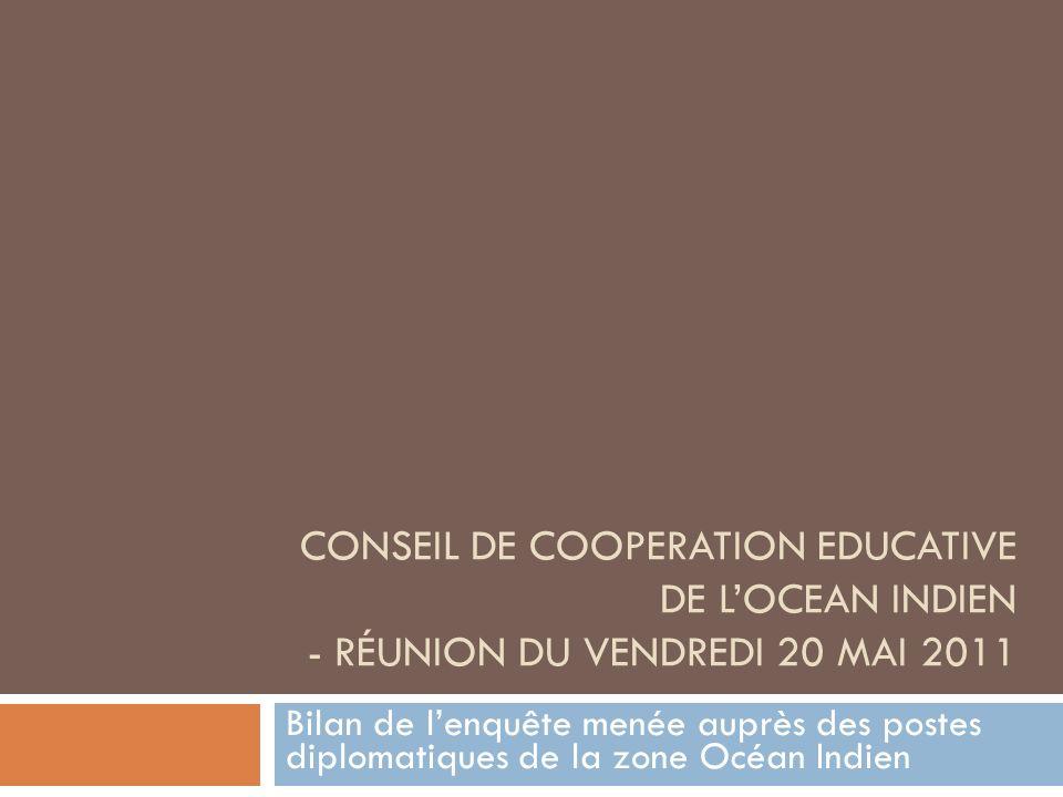 CONSEIL DE COOPERATION EDUCATIVE DE LOCEAN INDIEN - RÉUNION DU VENDREDI 20 MAI 2011 Bilan de lenquête menée auprès des postes diplomatiques de la zone