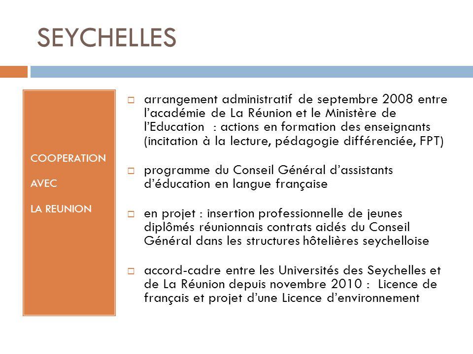 SEYCHELLES COOPERATION AVEC LA REUNION arrangement administratif de septembre 2008 entre lacadémie de La Réunion et le Ministère de lEducation : actio