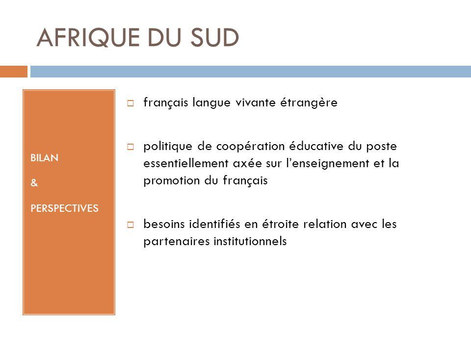 AFRIQUE DU SUD BILAN & PERSPECTIVES français langue vivante étrangère politique de coopération éducative du poste essentiellement axée sur lenseignement et la promotion du français besoins identifiés en étroite relation avec les partenaires institutionnels