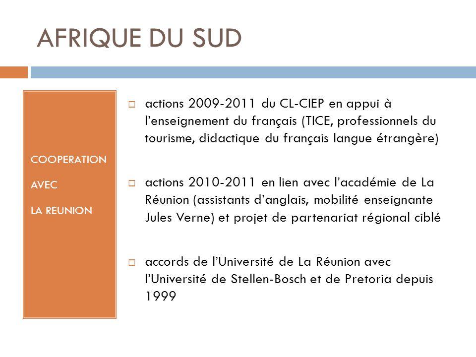 AFRIQUE DU SUD COOPERATION AVEC LA REUNION actions 2009-2011 du CL-CIEP en appui à lenseignement du français (TICE, professionnels du tourisme, didactique du français langue étrangère) actions 2010-2011 en lien avec lacadémie de La Réunion (assistants danglais, mobilité enseignante Jules Verne) et projet de partenariat régional ciblé accords de lUniversité de La Réunion avec lUniversité de Stellen-Bosch et de Pretoria depuis 1999