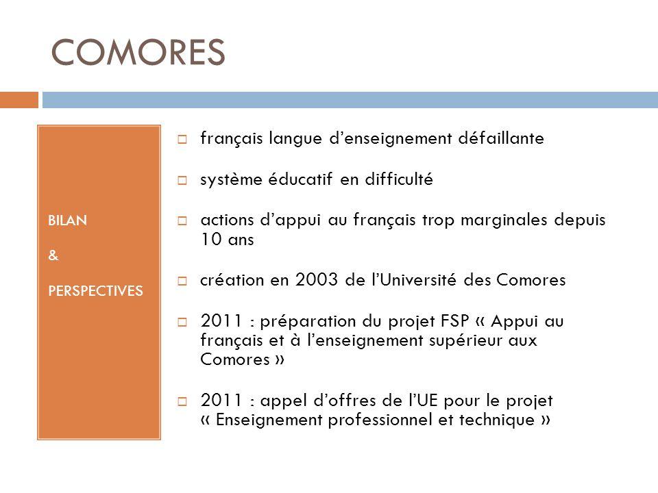 COMORES BILAN & PERSPECTIVES français langue denseignement défaillante système éducatif en difficulté actions dappui au français trop marginales depui