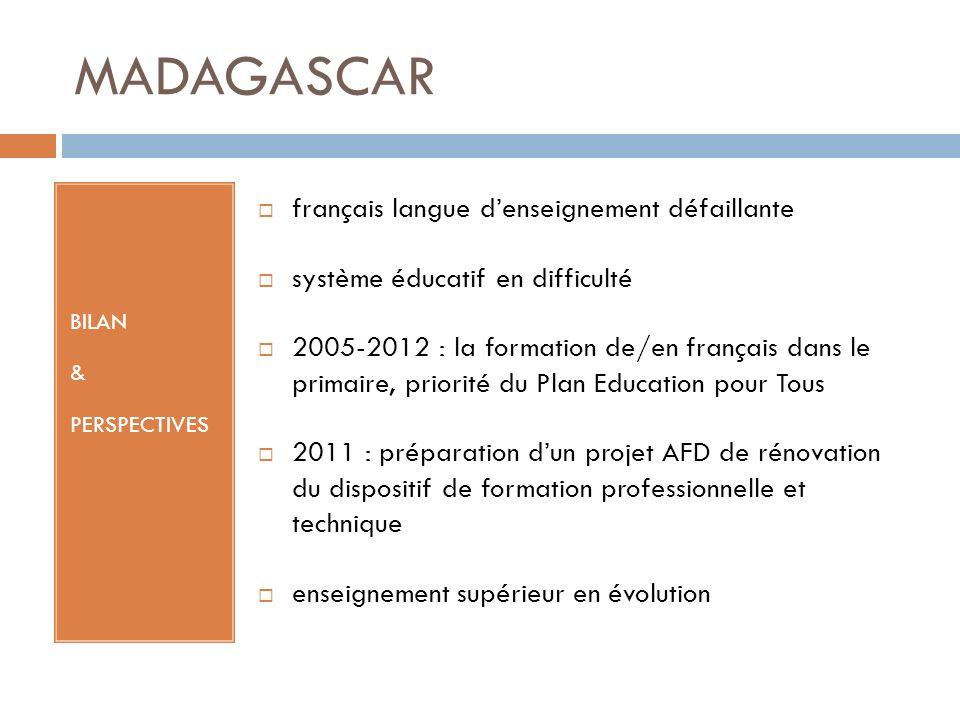 MADAGASCAR BILAN & PERSPECTIVES français langue denseignement défaillante système éducatif en difficulté 2005-2012 : la formation de/en français dans