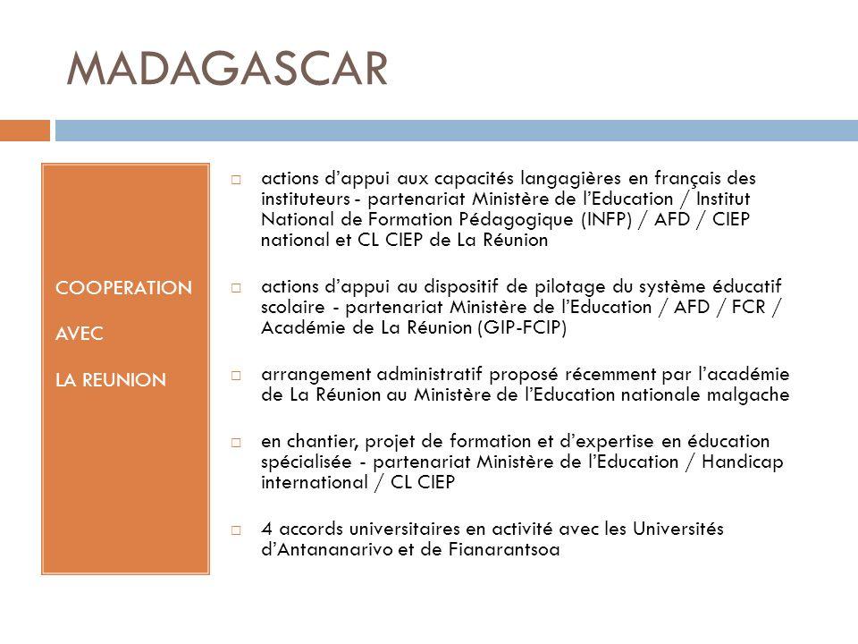 MADAGASCAR COOPERATION AVEC LA REUNION actions dappui aux capacités langagières en français des instituteurs - partenariat Ministère de lEducation / I