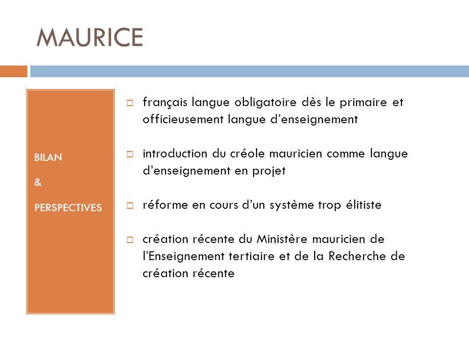 MAURICE BILAN & PERSPECTIVES français langue obligatoire dès le primaire et officieusement langue denseignement introduction du créole mauricien comme