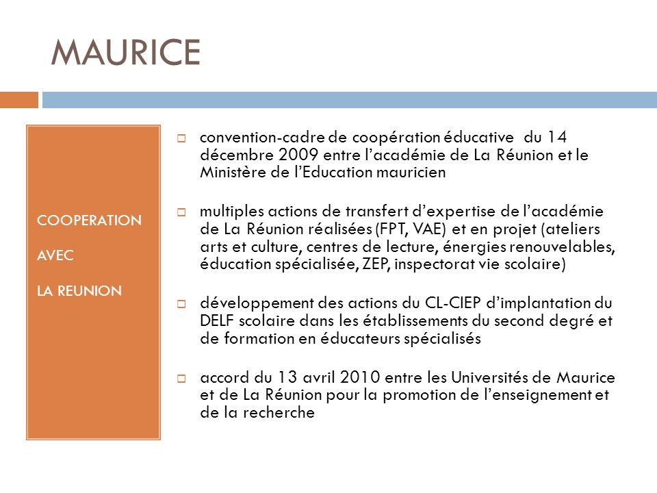 MAURICE COOPERATION AVEC LA REUNION convention-cadre de coopération éducative du 14 décembre 2009 entre lacadémie de La Réunion et le Ministère de lEd