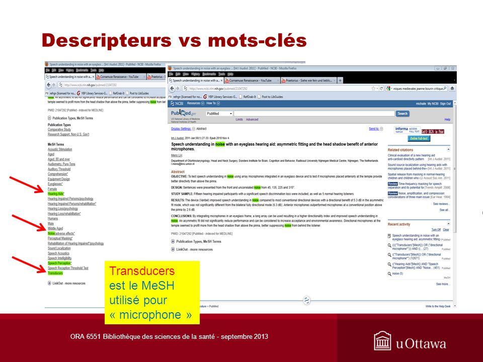 Descripteurs vs mots-clés ORA 6551 Bibliothèque des sciences de la santé - septembre 2013 Transducers est le MeSH utilisé pour « microphone »