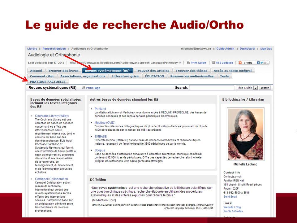 Cochrane Database of SR sur Ovid ORA 6551 Bibliothèque des sciences de la santé - septembre 2013 i.e.