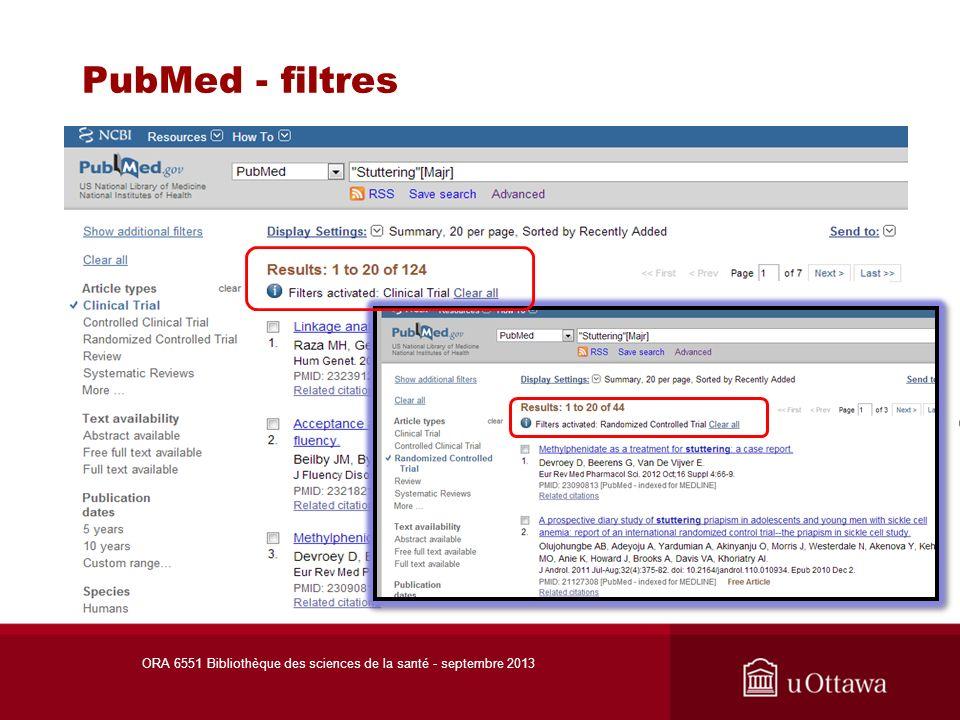 CINAHL - filtres ORA 6551 Bibliothèque des sciences de la santé - septembre 2013