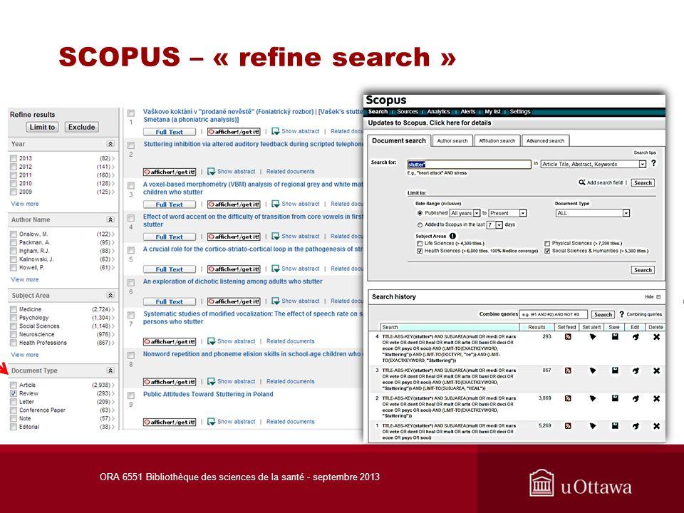 Accès aux articles – autres bases de données ORA 6551 Bibliothèque des sciences de la santé - septembre 2013 Cochrane Library: la section Cochrane Reviews comprend les textes intégraux.