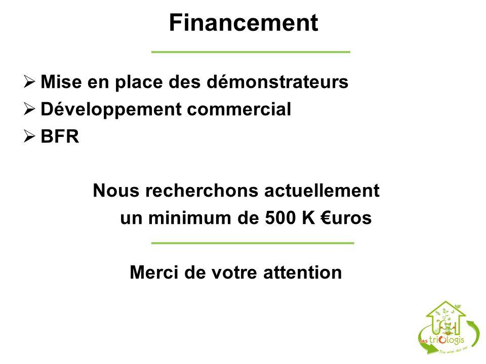 Financement Mise en place des démonstrateurs Développement commercial BFR Nous recherchons actuellement un minimum de 500 K uros Merci de votre attent