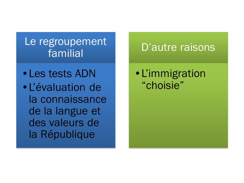Le regroupement familial Les tests ADN Lévaluation de la connaissance de la langue et des valeurs de la République Dautre raisons Limmigrationchoisie