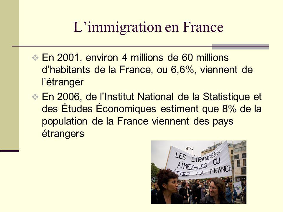 Limmigration en France En 2001, environ 4 millions de 60 millions dhabitants de la France, ou 6,6%, viennent de létranger En 2006, de lInstitut National de la Statistique et des Études Économiques estiment que 8% de la population de la France viennent des pays étrangers