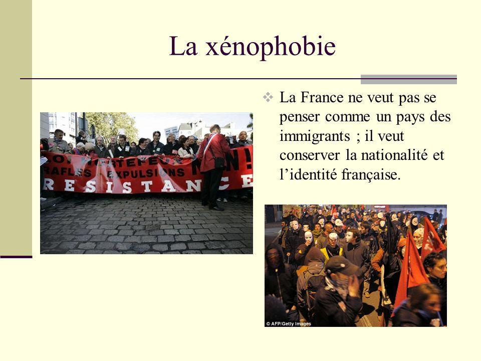 La xénophobie La France ne veut pas se penser comme un pays des immigrants ; il veut conserver la nationalité et lidentité française.