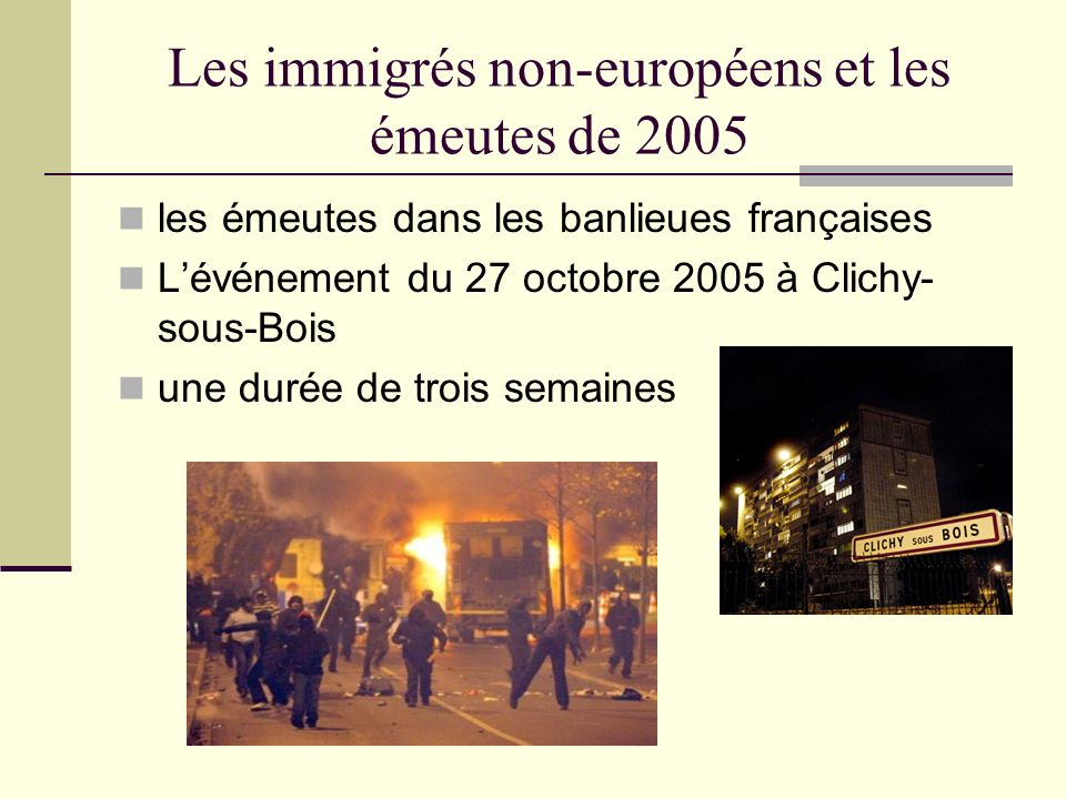 Les immigrés non-européens et les émeutes de 2005 le rôle des banlieues françaises comme les communautés Les logements sociaux (HLM): les Français de souche et les immigrés non-européens une vraie ségrégation une vraie relégation