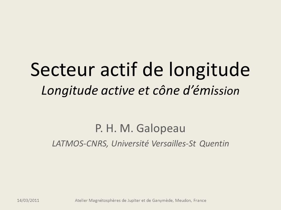 Secteur actif de longitude Longitude active et cône démi ssion P.