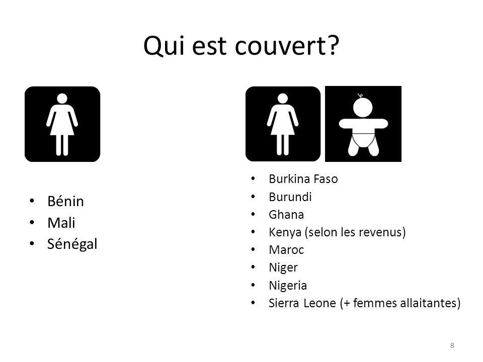 88 Qui est couvert? Bénin Mali Sénégal Burkina Faso Burundi Ghana Kenya (selon les revenus) Maroc Niger Nigeria Sierra Leone (+ femmes allaitantes)