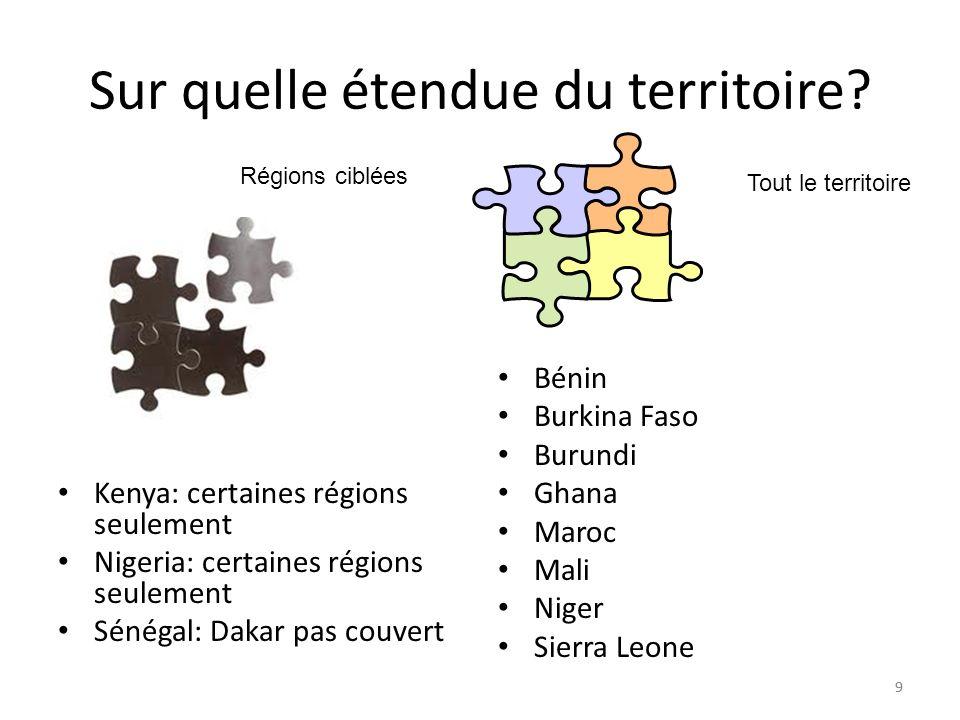 99 Sur quelle étendue du territoire? Kenya: certaines régions seulement Nigeria: certaines régions seulement Sénégal: Dakar pas couvert Bénin Burkina