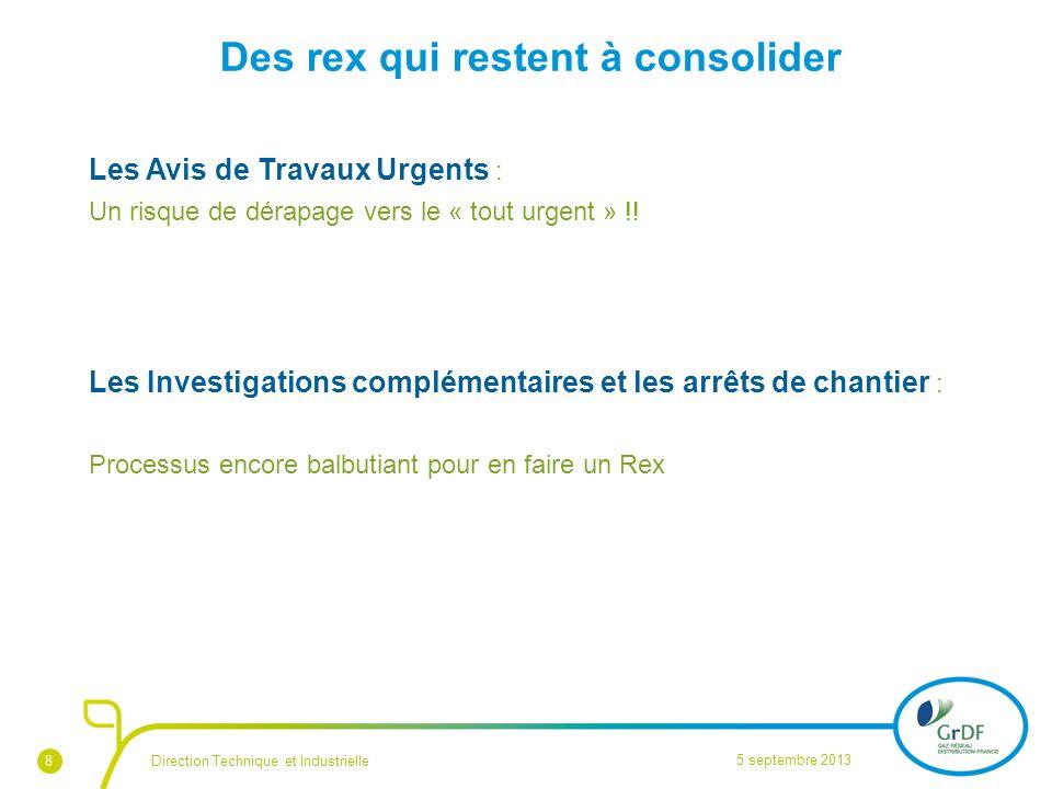 8 Des rex qui restent à consolider Les Avis de Travaux Urgents : Un risque de dérapage vers le « tout urgent » !! Les Investigations complémentaires e