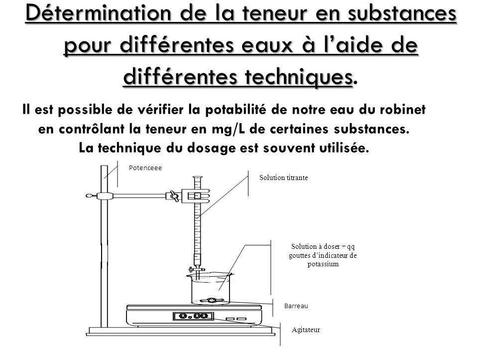 Détermination de la teneur en substances pour différentes eaux à laide de différentes techniques Détermination de la teneur en substances pour différe