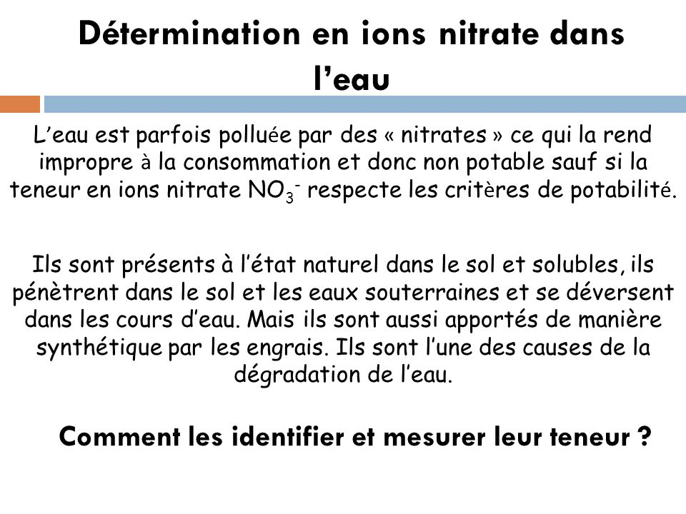 Détermination en ions nitrate dans leau L eau est parfois pollu é e par des « nitrates » ce qui la rend impropre à la consommation et donc non potable