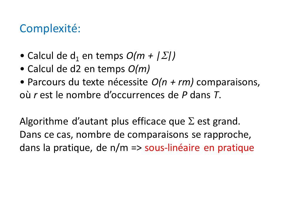 Complexité: Calcul de d 1 en temps O(m + | |) Calcul de d2 en temps O(m) Parcours du texte nécessite O(n + rm) comparaisons, où r est le nombre doccur