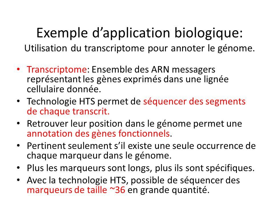 Exemple dapplication biologique: Utilisation du transcriptome pour annoter le génome. Transcriptome: Ensemble des ARN messagers représentant les gènes