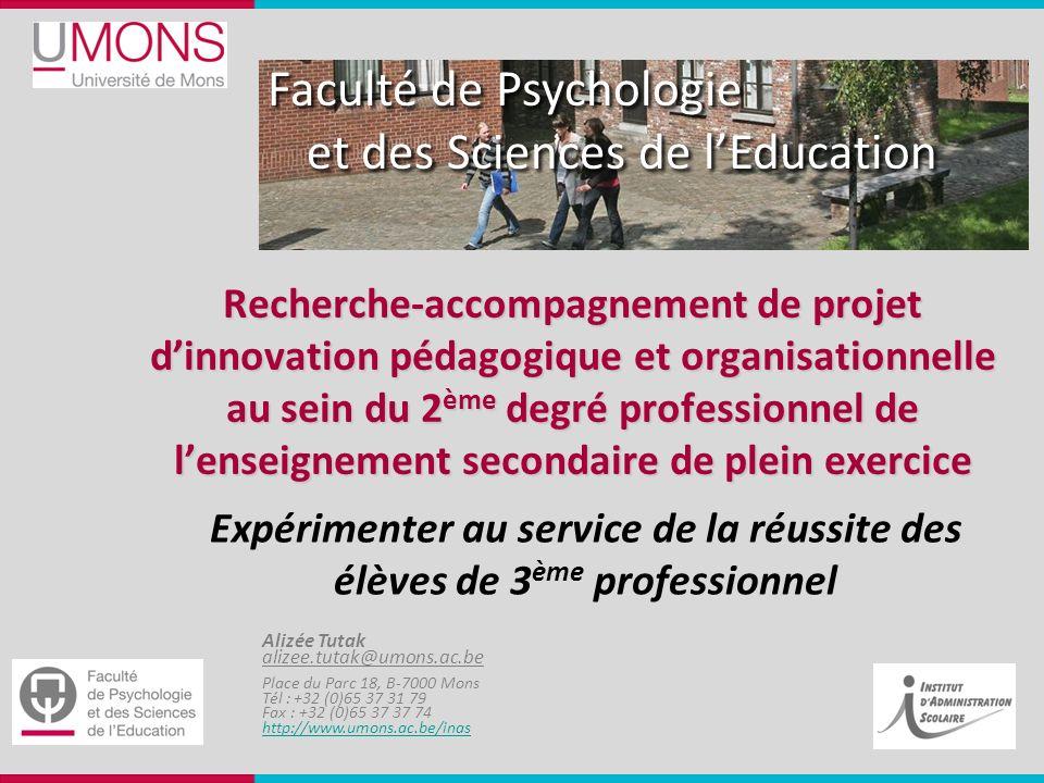 Faculté de Psychologie et des Sciences de lEducation Alizée Tutak alizee.tutak@umons.ac.be Place du Parc 18, B-7000 Mons Tél : +32 (0)65 37 31 79 Fax