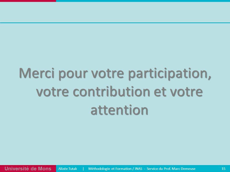 Université de Mons Alizée Tutak | Méthodologie et Formation / INAS - Service du Prof. Marc Demeuse 15 Merci pour votre participation, votre contributi