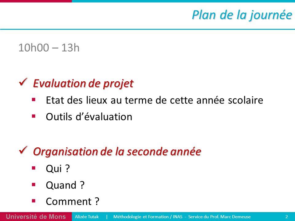 Université de Mons Alizée Tutak | Méthodologie et Formation / INAS - Service du Prof. Marc Demeuse 2 Plan de la journée 10h00 – 13h Evaluation de proj