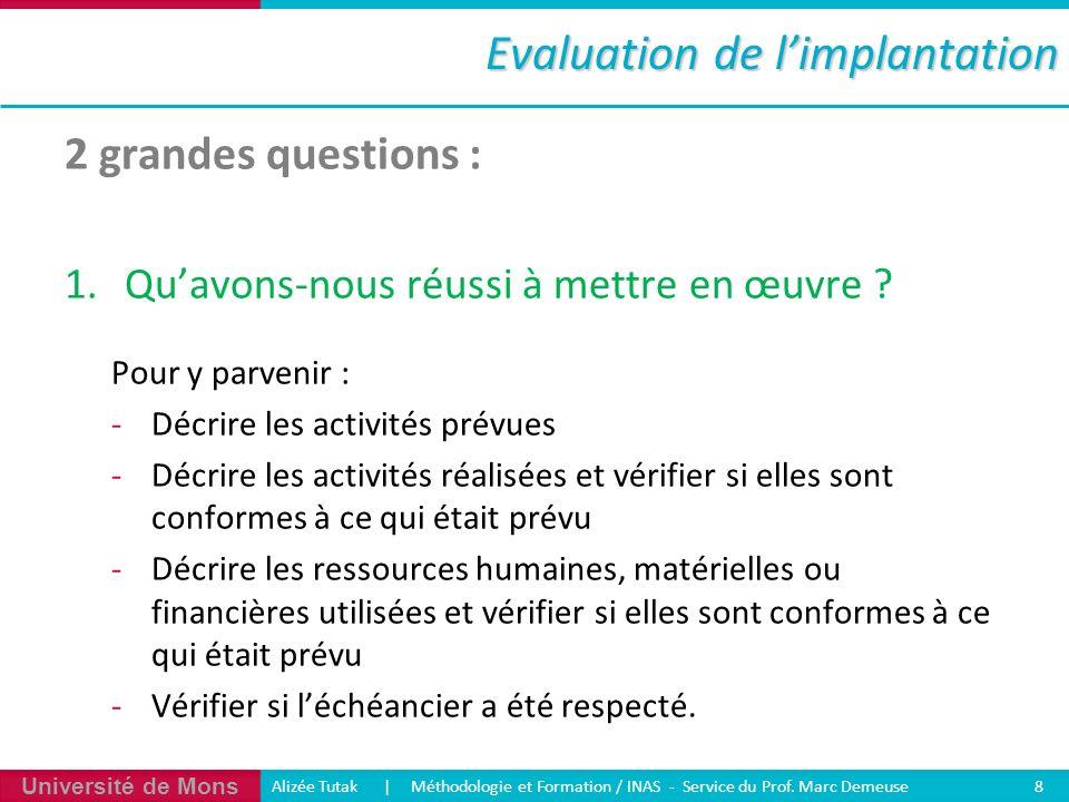 Université de Mons Alizée Tutak | Méthodologie et Formation / INAS - Service du Prof. Marc Demeuse 8 Evaluation de limplantation 2 grandes questions :