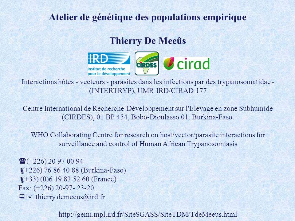 Atelier de génétique des populations empirique Thierry De Meeûs Interactions hôtes - vecteurs - parasites dans les infections par des trypanosomatidae
