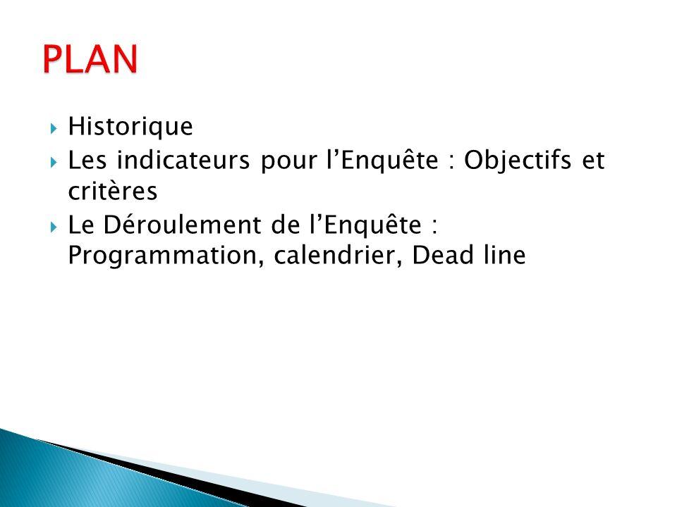 Historique Les indicateurs pour lEnquête : Objectifs et critères Le Déroulement de lEnquête : Programmation, calendrier, Dead line