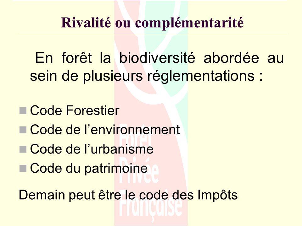 Rivalité ou complémentarité En forêt la biodiversité abordée au sein de plusieurs réglementations : Code Forestier Code de lenvironnement Code de lurbanisme Code du patrimoine Demain peut être le code des Impôts