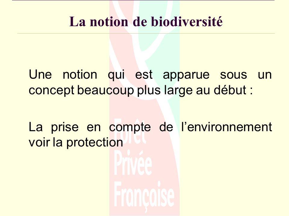 La notion de biodiversité Une notion qui est apparue sous un concept beaucoup plus large au début : La prise en compte de lenvironnement voir la protection